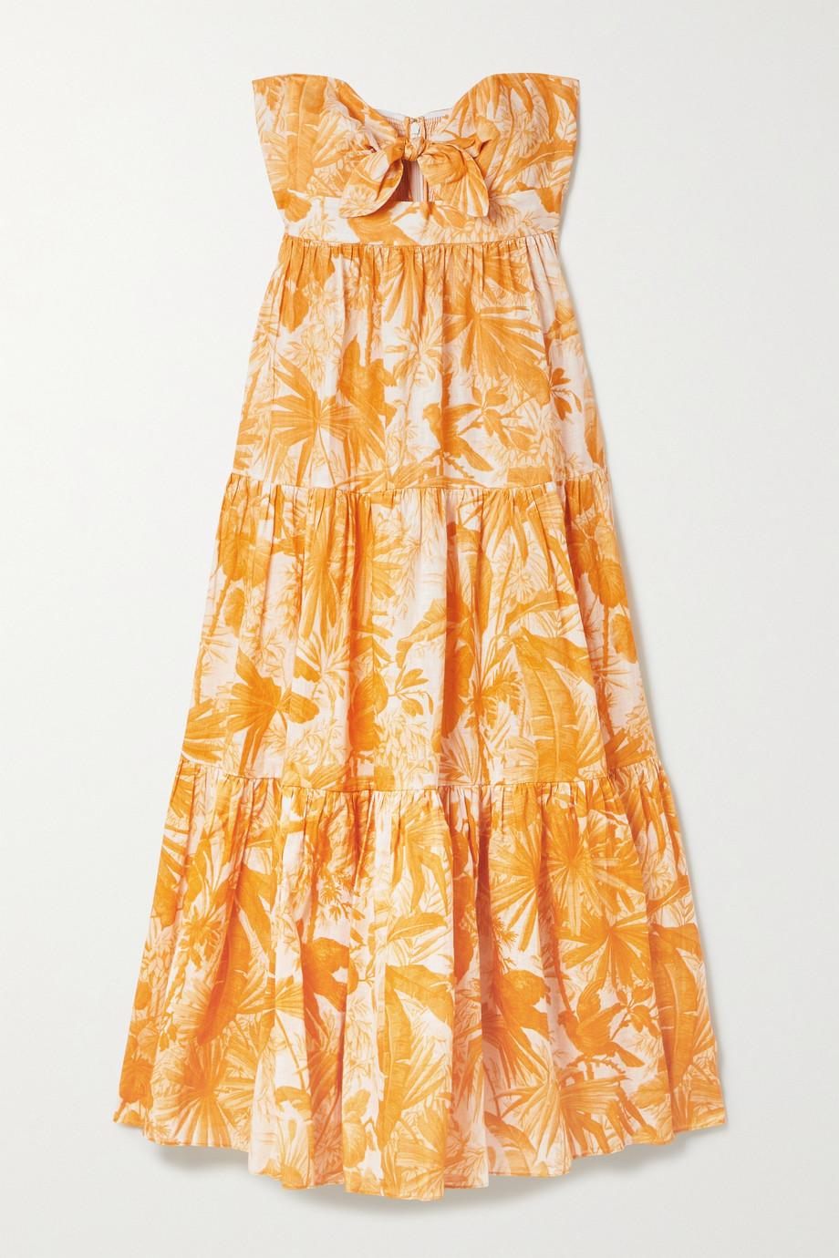 Zimmermann Mae cutout tie-detailed printed linen maxi dress
