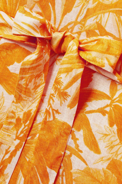 Zimmermann Mae Midikleid aus bedrucktem Leinen mit Rüschen und Bindegürtel