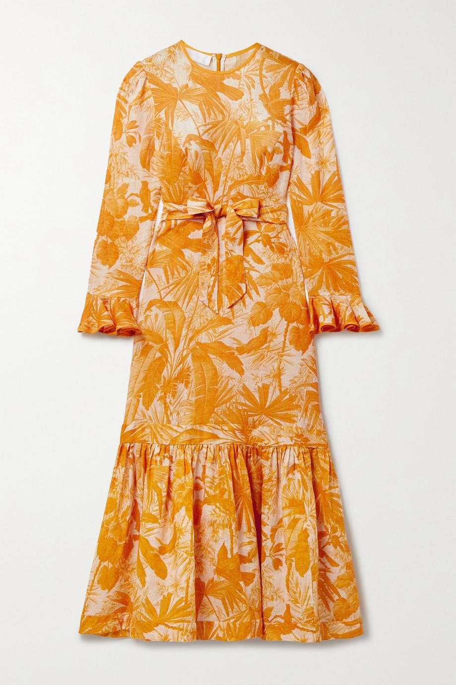 Zimmermann Robe midi en lin imprimé à volants et à ceinture Mae