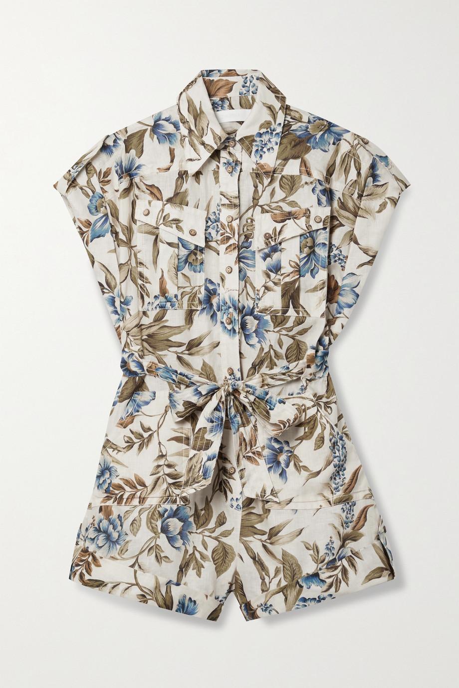 Zimmermann Combi-short en lin à imprimé fleuri et à ceinture Aliane