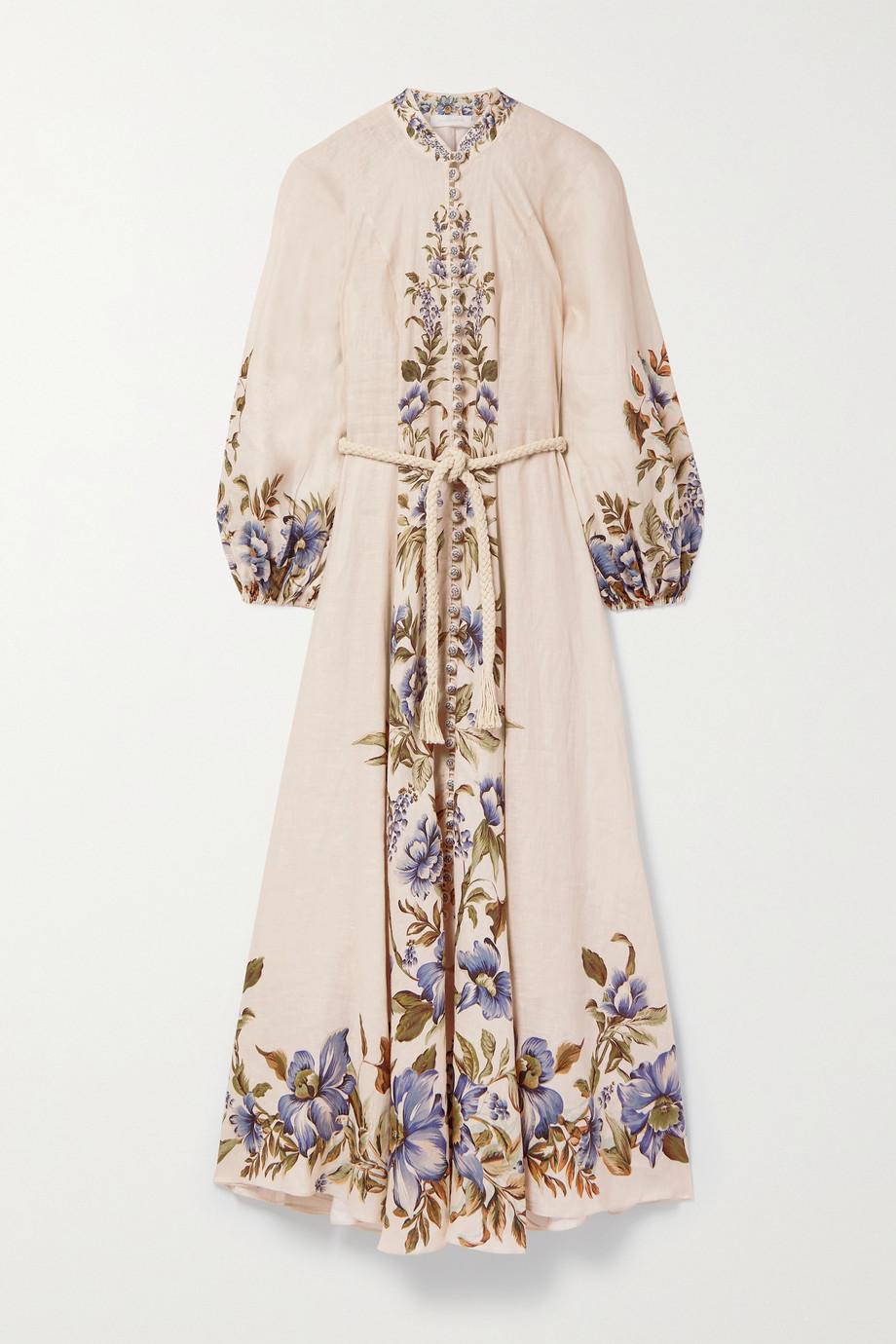 Zimmermann Robe longue en lin à imprimé fleuri et à ceinture Aliane