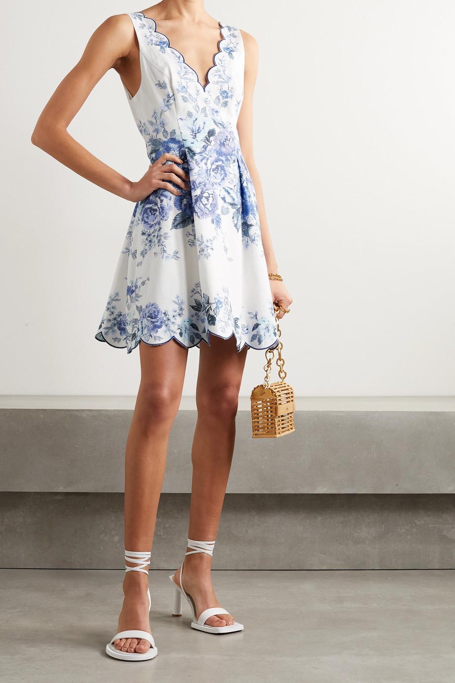 Zimmermann Mini-robe en lin à imprimé fleuri et à festons Aliane