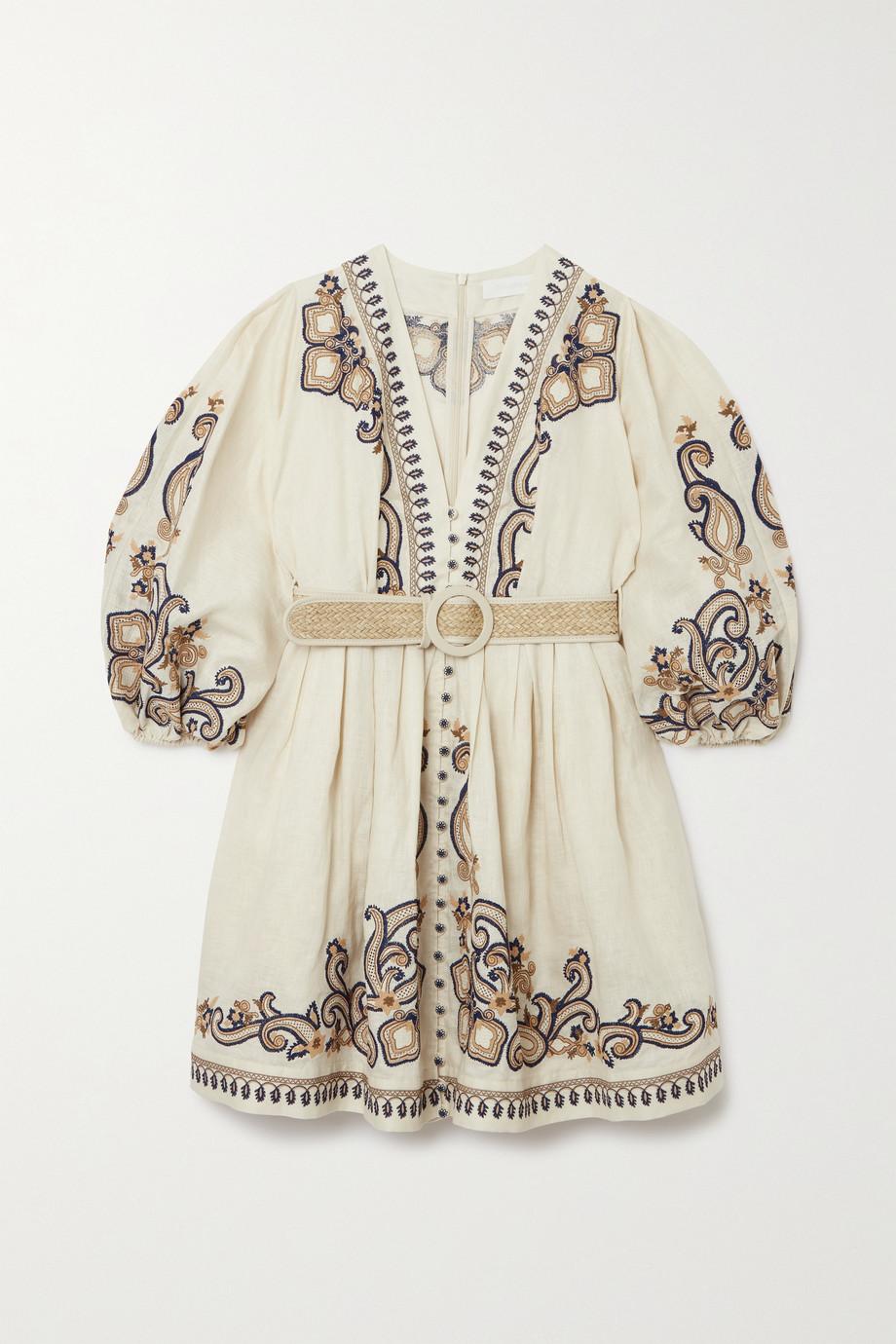 Zimmermann Aliane belted embroidered linen mini dress