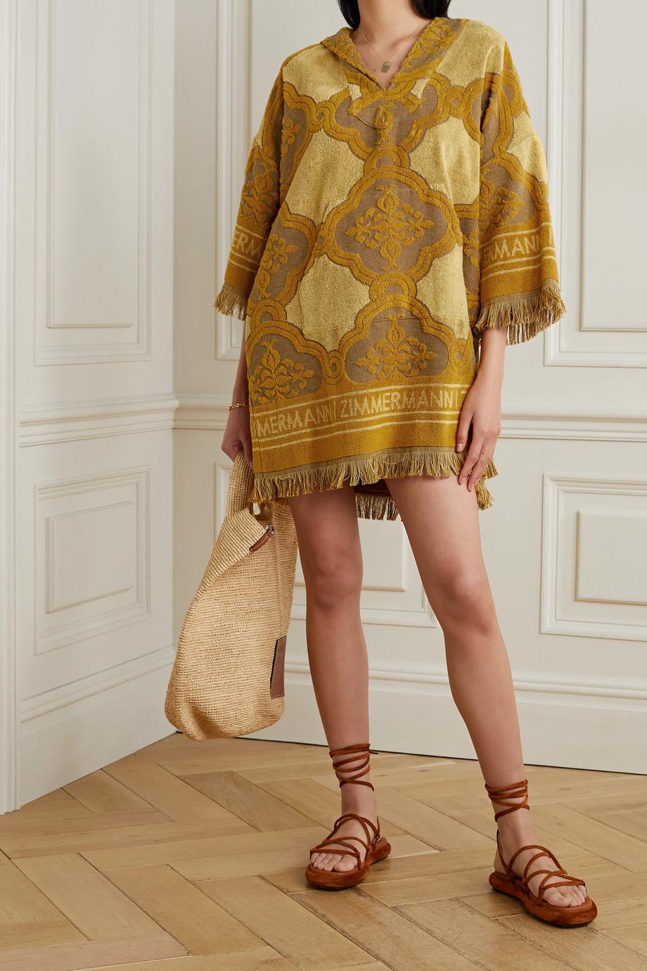 Zimmermann Mini-robe à capuche en molleton de coton jacquard à franges Aliane