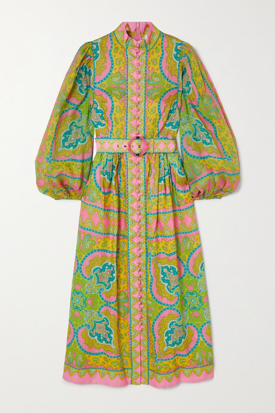 Zimmermann Robe midi en lin et ramie mélangés à imprimé cachemire et à ceinture Estelle