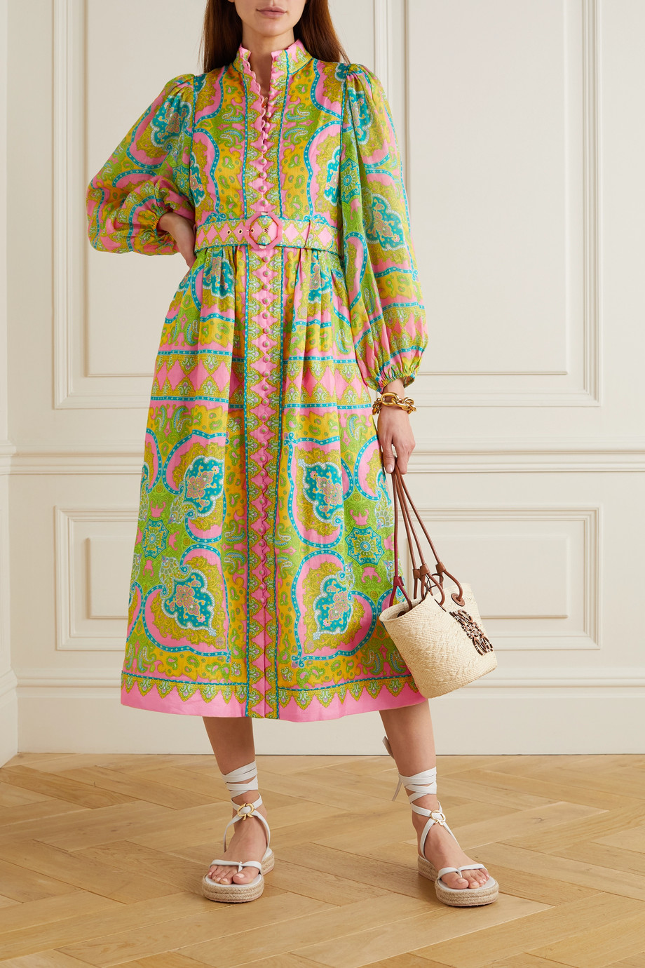 Zimmermann Estelle belted paisley-print linen and ramie midi dress