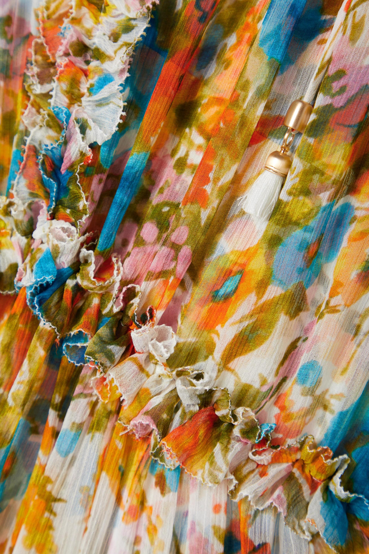Zimmermann Robe midi en crépon à imprimé fleuri et à volants Estelle