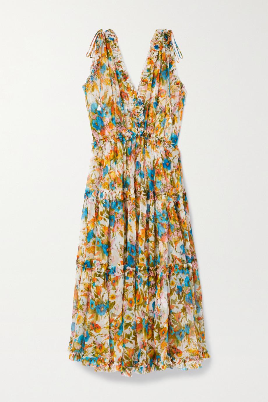 Zimmermann Estelle ruffled floral-print crepon midi dress