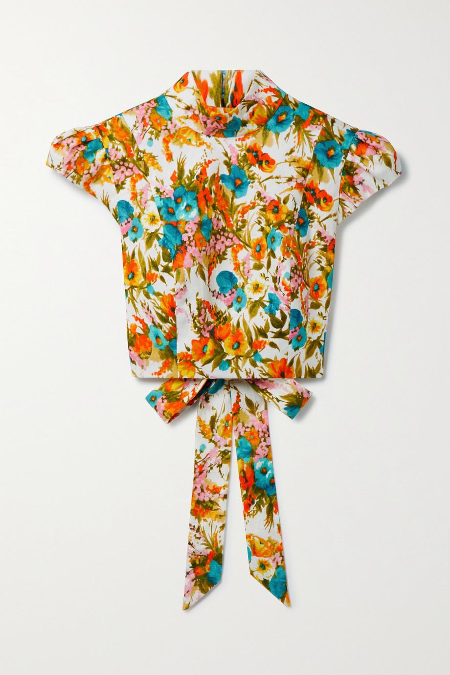 Zimmermann Estelle cropped open-back floral-print linen top