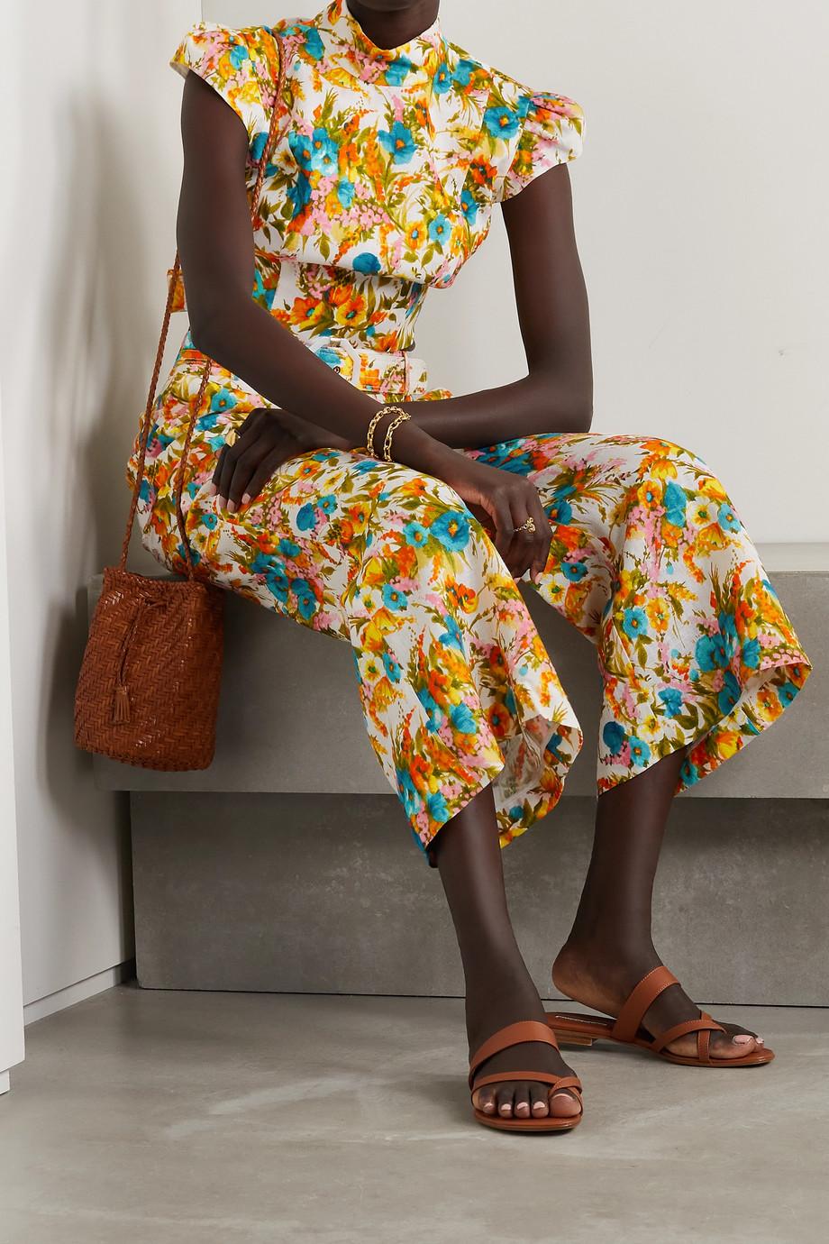 Zimmermann Estelle cropped belted floral-print linen wide-leg pants