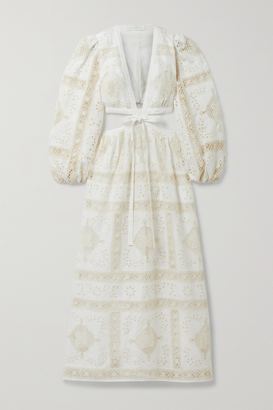 Zimmermann Aliane cutout tie-front broderie anglaise cotton midi dress