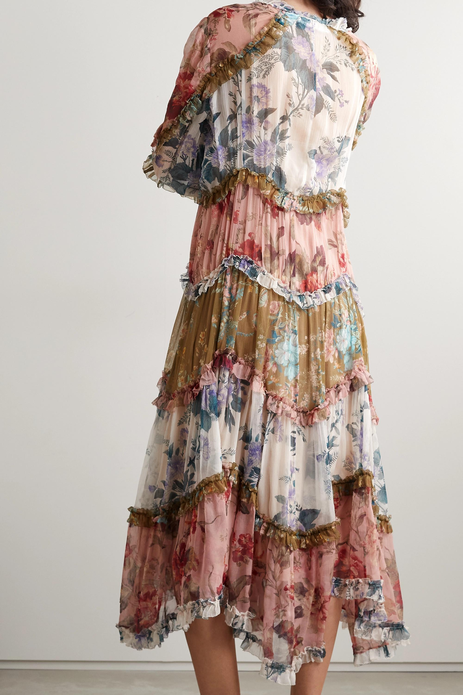 Zimmermann Robe midi en georgette de soie froissée à imprimé fleuri et à volants Cassia