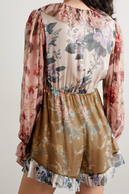Zimmermann Cassia ruffled floral-print crinkled silk-georgette playsuit