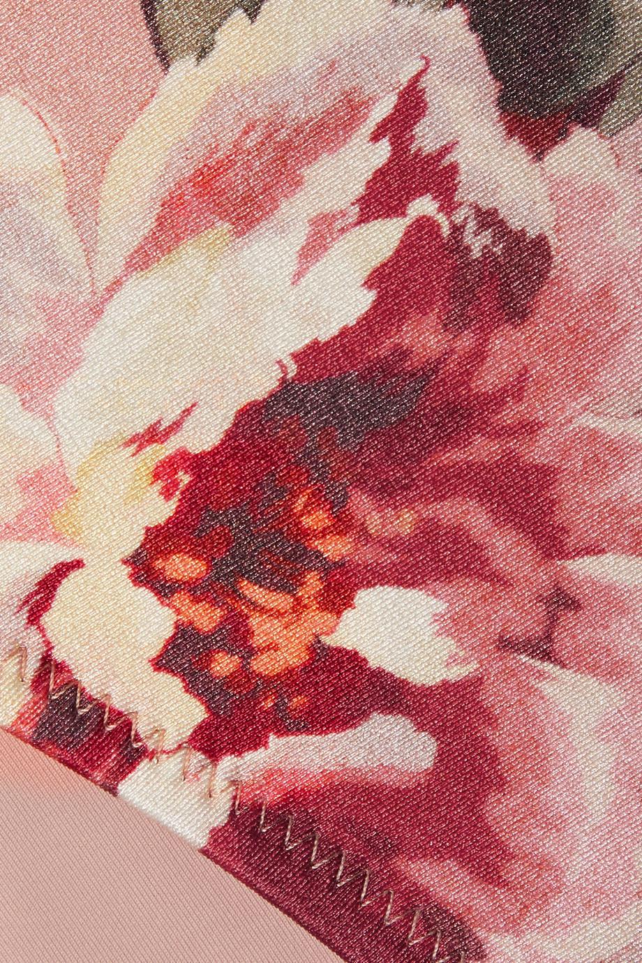 Zimmermann Cassia embellished crochet-knit and floral-print bikini