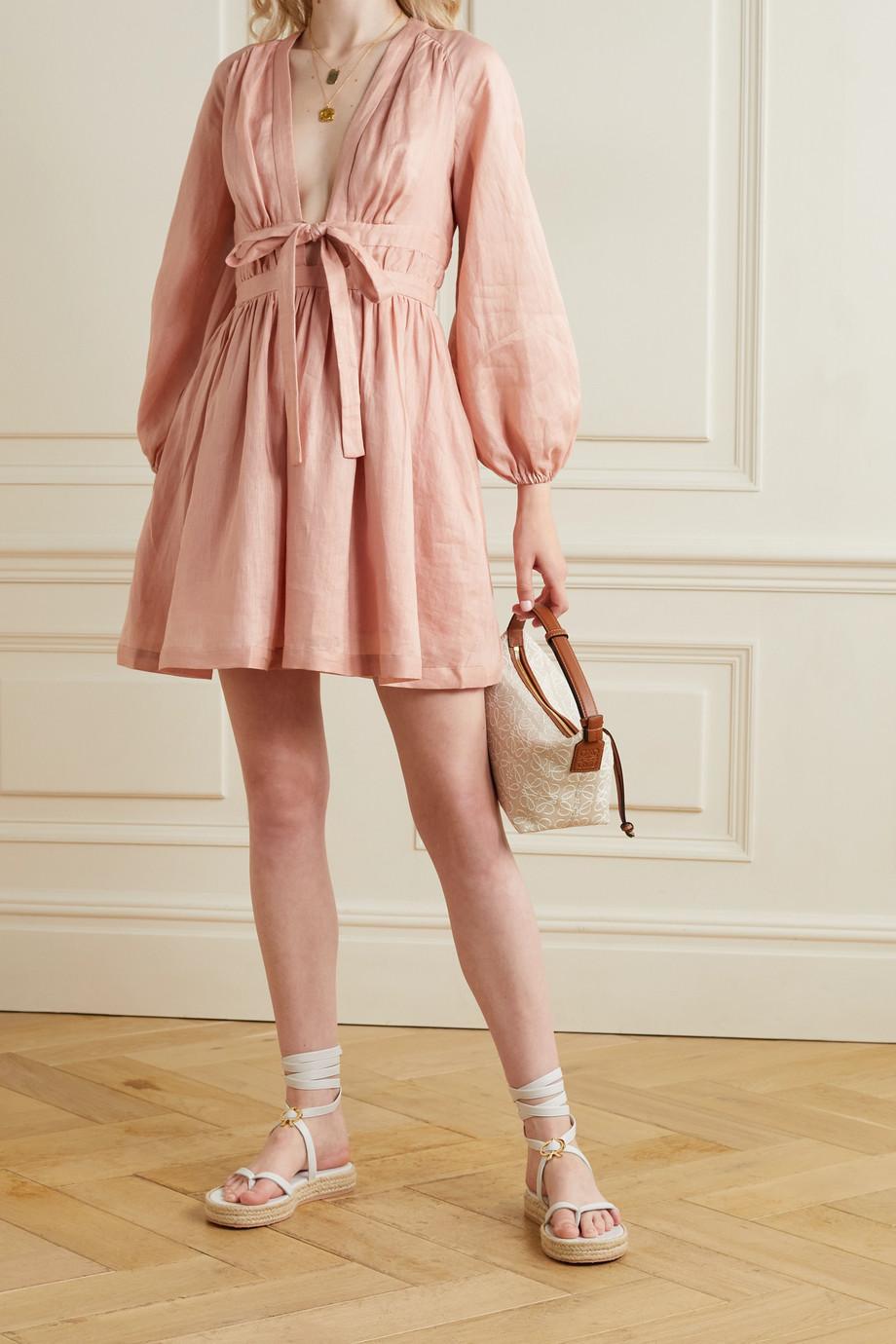 Zimmermann Cassia cutout linen-voile mini dress