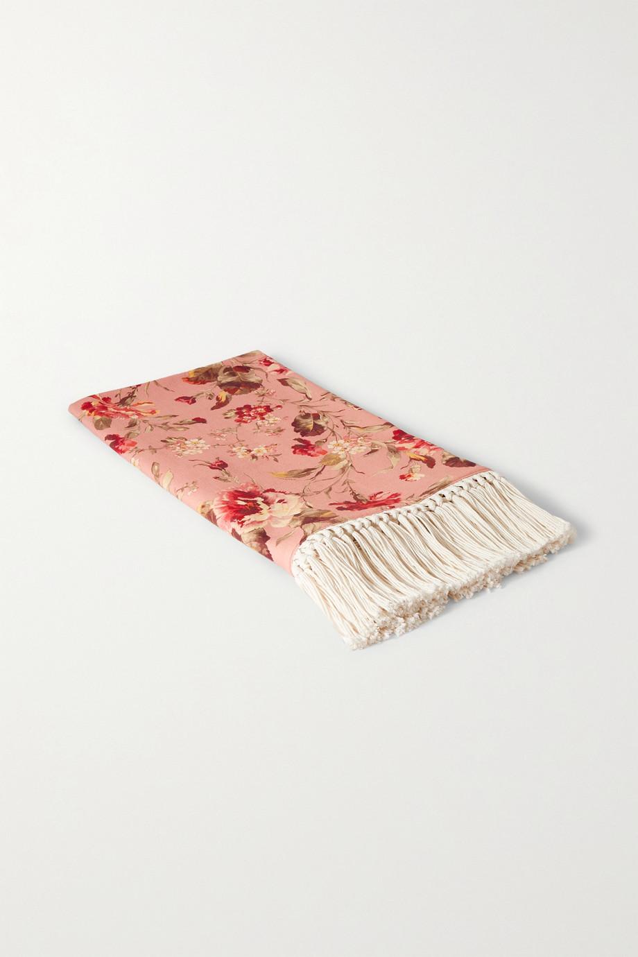 Zimmermann Serviette en coton flammé à imprimé fleuri et à houppes