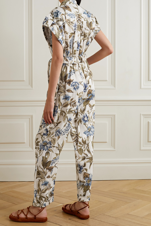 Zimmermann Combi-pantalon en lin à imprimé fleuri et à ceinture Liane