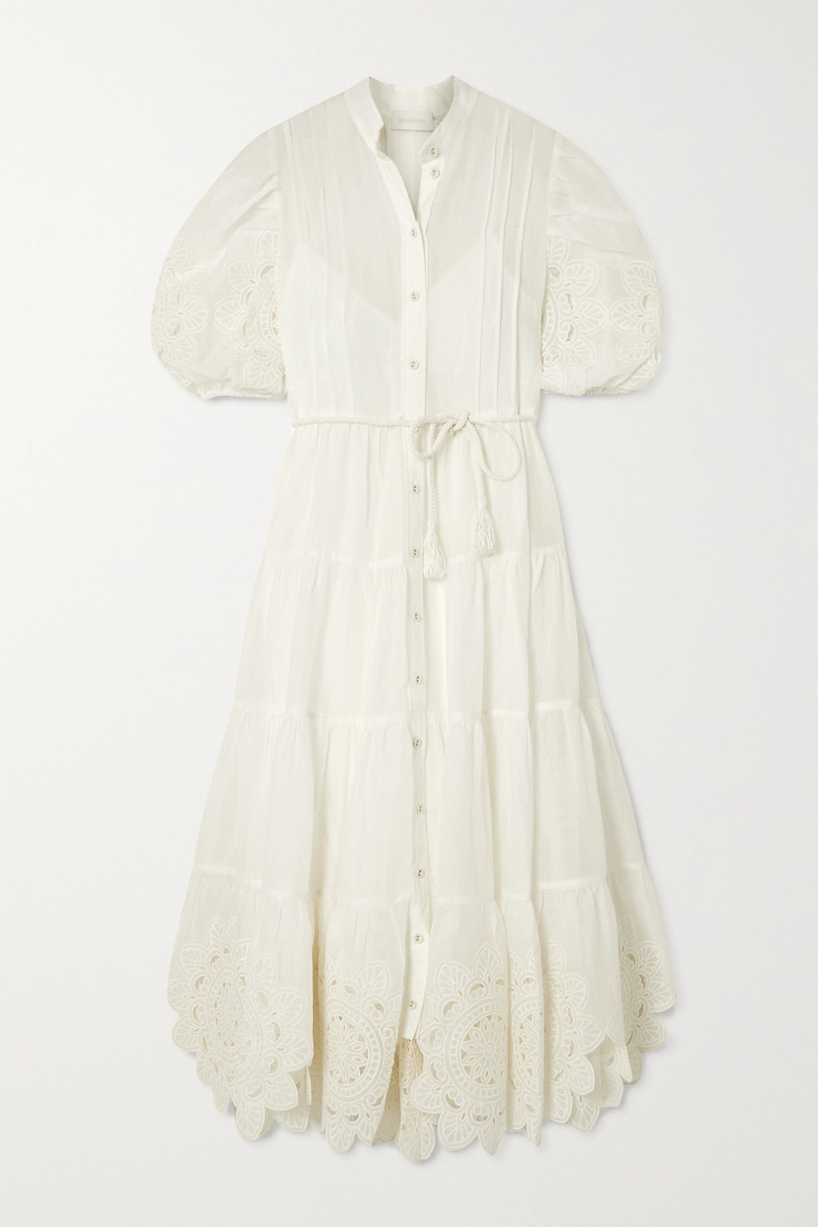 Zimmermann Belted broderie anglaise-trimmed ramie midi dress