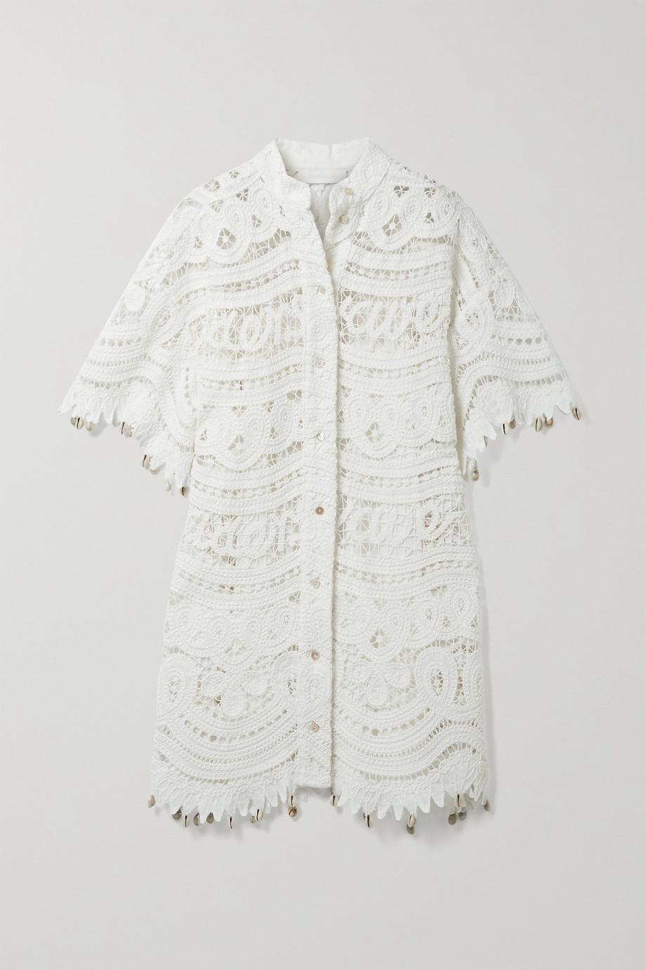 Zimmermann Shelly Minikleid aus einer gehäkelten Leinen-Baumwollmischung mit Verzierungen