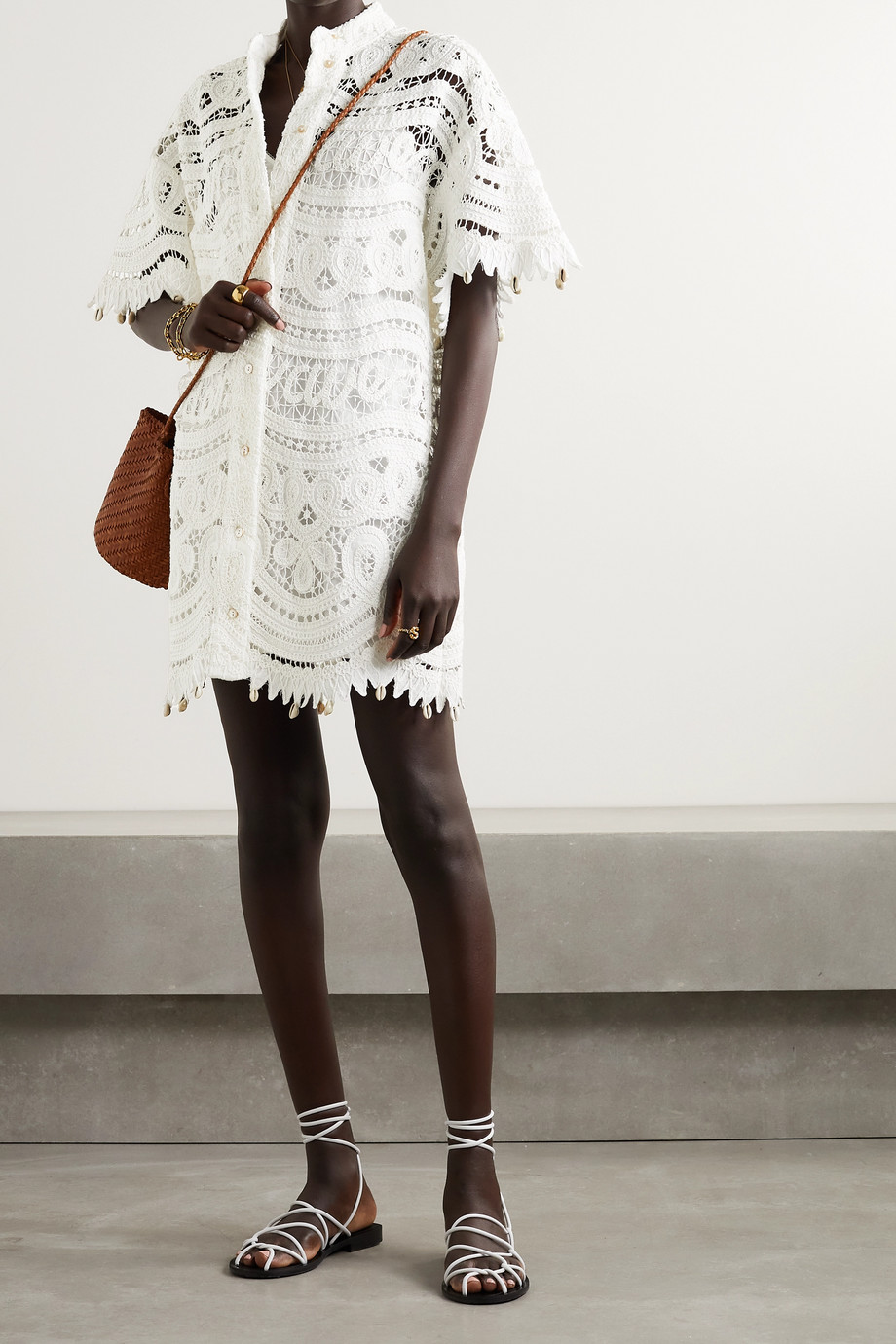 Zimmermann Shelly embellished crocheted linen and cotton-blend mini dress