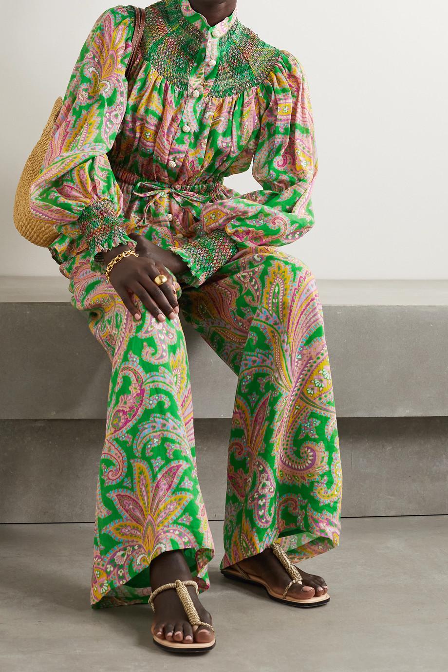 Zimmermann Teddy smocked paisley-print ramie blouse