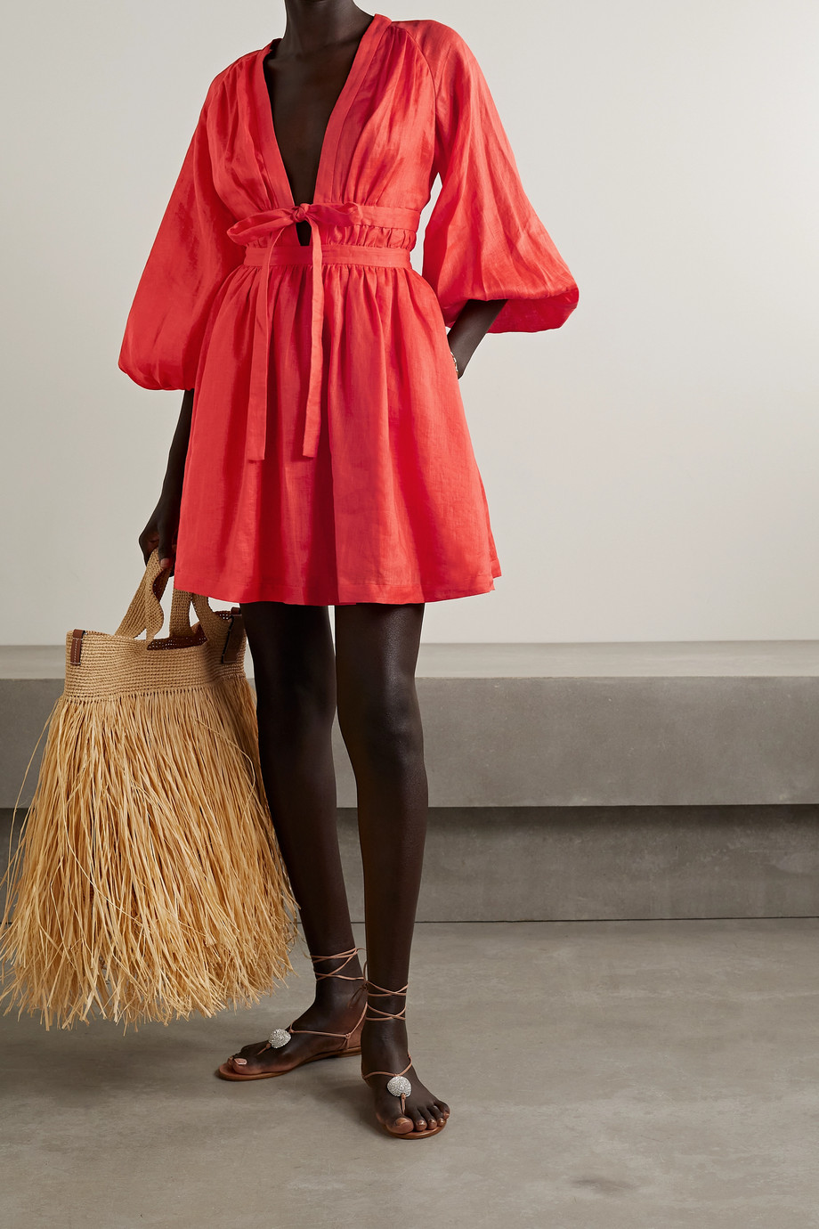 Zimmermann Shelly tie-front gathered linen mini dress