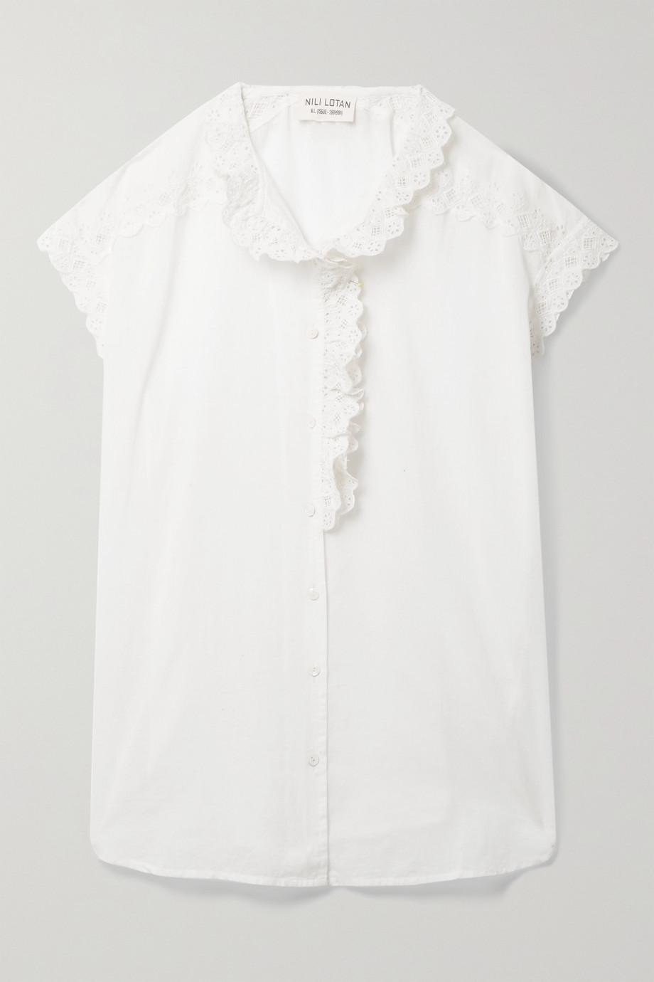 Nili Lotan Leanne lace-trimmed cotton-voile top