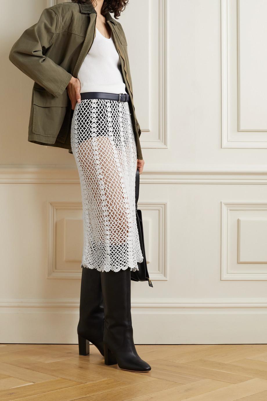 Nili Lotan Zuria crocheted cotton skirt