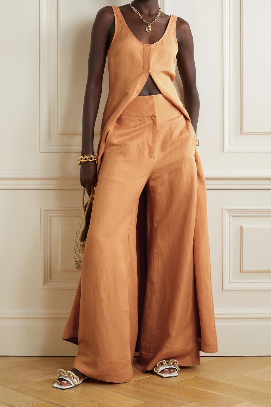 BONDI BORN Palma linen-blend wide-leg pants