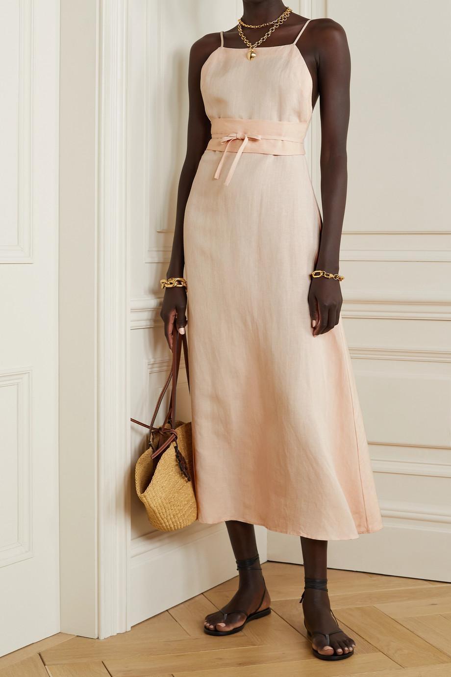 BONDI BORN Marseille belted linen midi dress