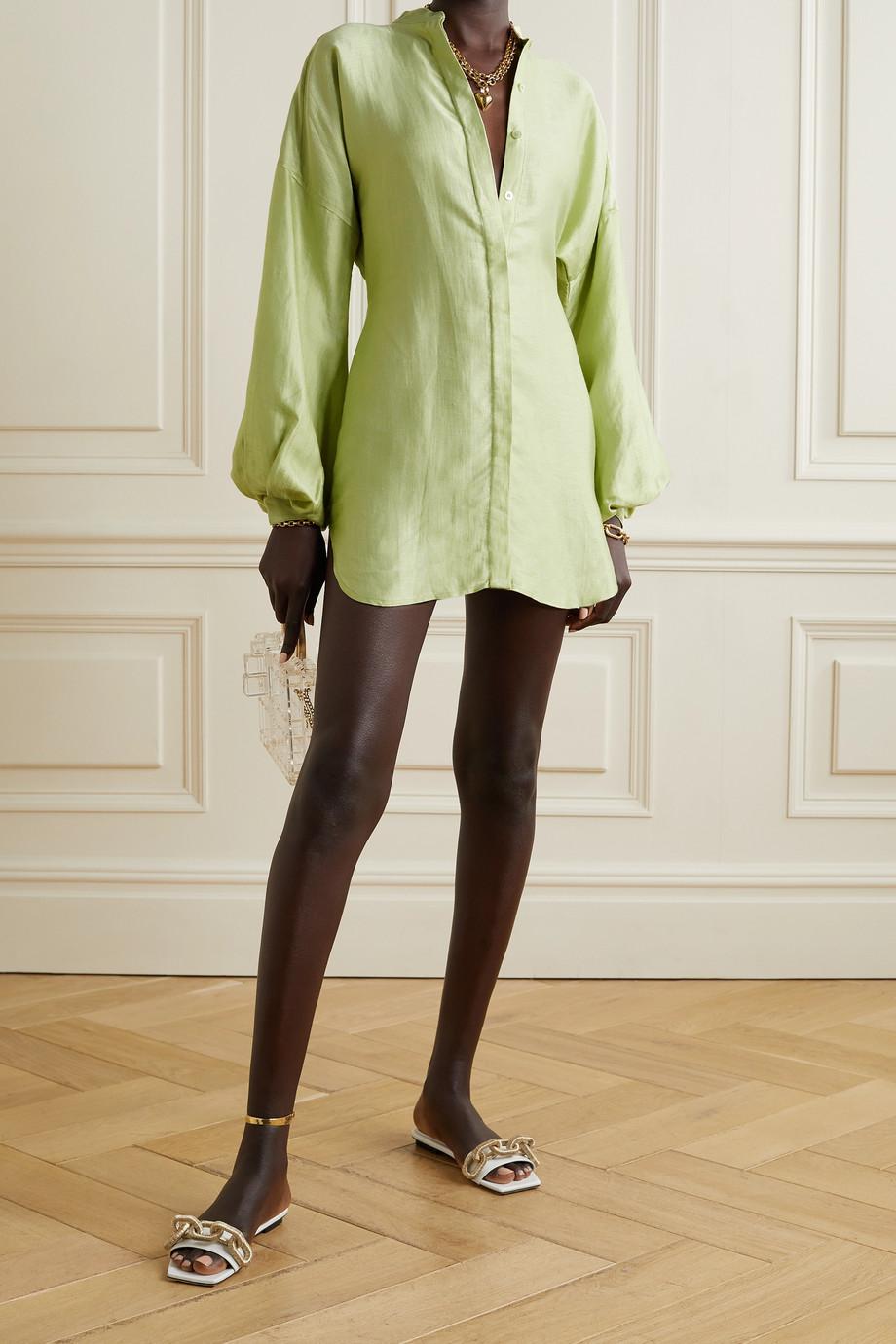 BONDI BORN Bretagne Mini-Hemdblusenkleid aus glänzendem Twill