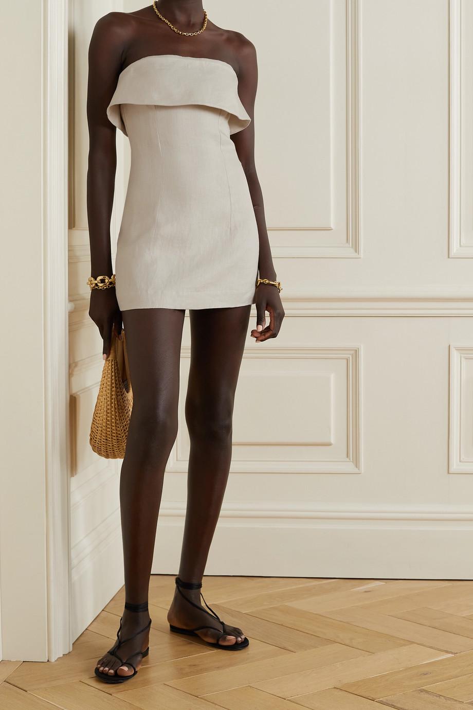 BONDI BORN Elba trägerloses Minikleid aus Leinen-Twill