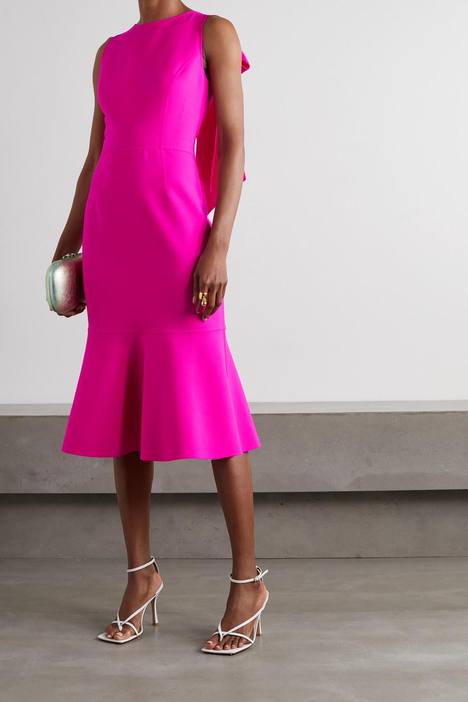 Oscar de la Renta Bow-detailed virgin wool-blend midi dress