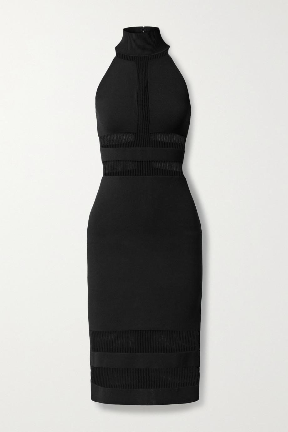 Hervé Léger + NET SUSTAIN + Julia Restoin Roitfeld recycled stretch-jersey and ribbed-knit dress