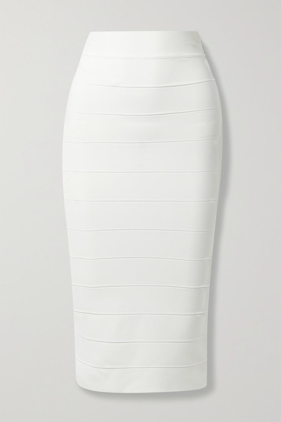 Hervé Léger + Julia Restoin Roitfeld recycled bandage midi skirt