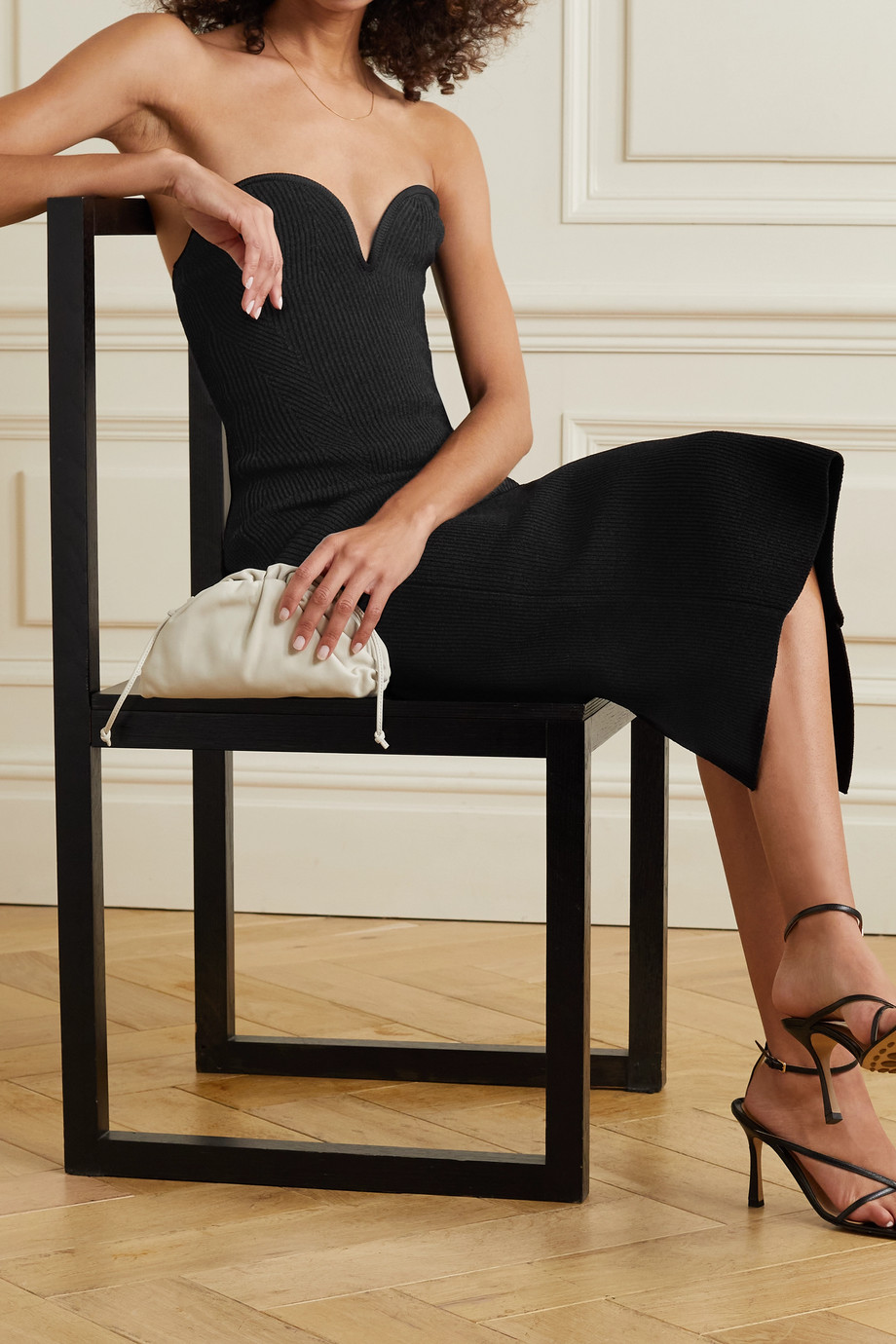 Galvan Thalia ribbed stretch-knit bustier midi dress