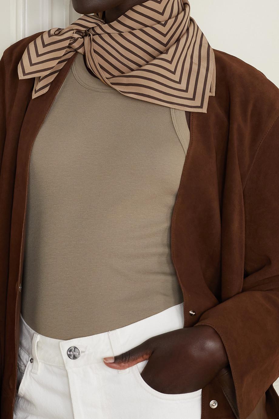 Totême Striped silk crepe de chine scarf