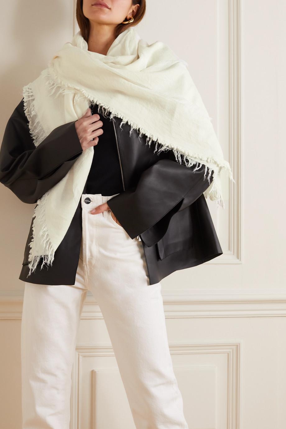 Totême Châle en laine, modal et cachemire mélangés à finitions en mousseline et à franges