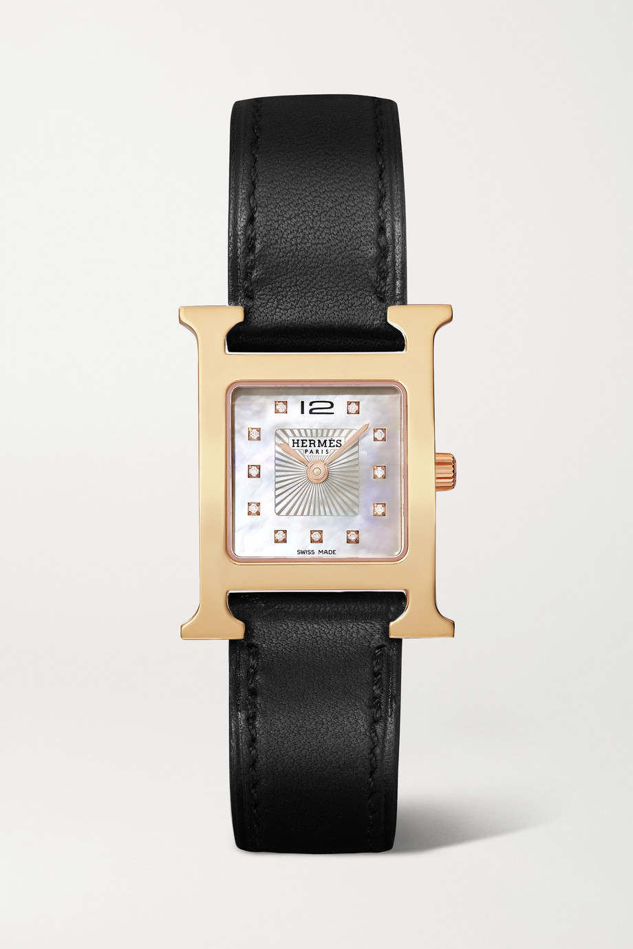Hermès Timepieces Heure H 21mm small rose gold-plated, leather, mother-of-pearl and diamond watch