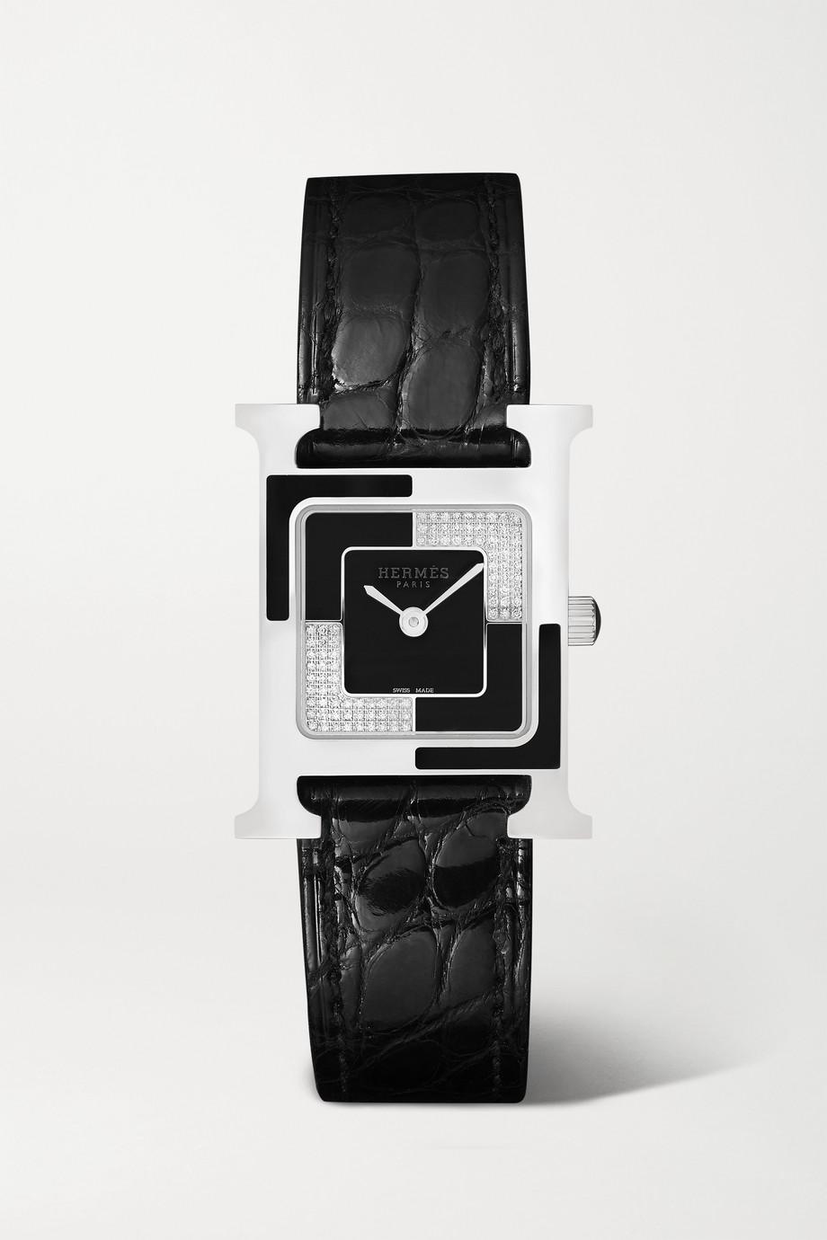 Hermès Timepieces Montre en acier inoxydable laqué et diamants à bracelet en alligator Heure H Au Carré 21 mm