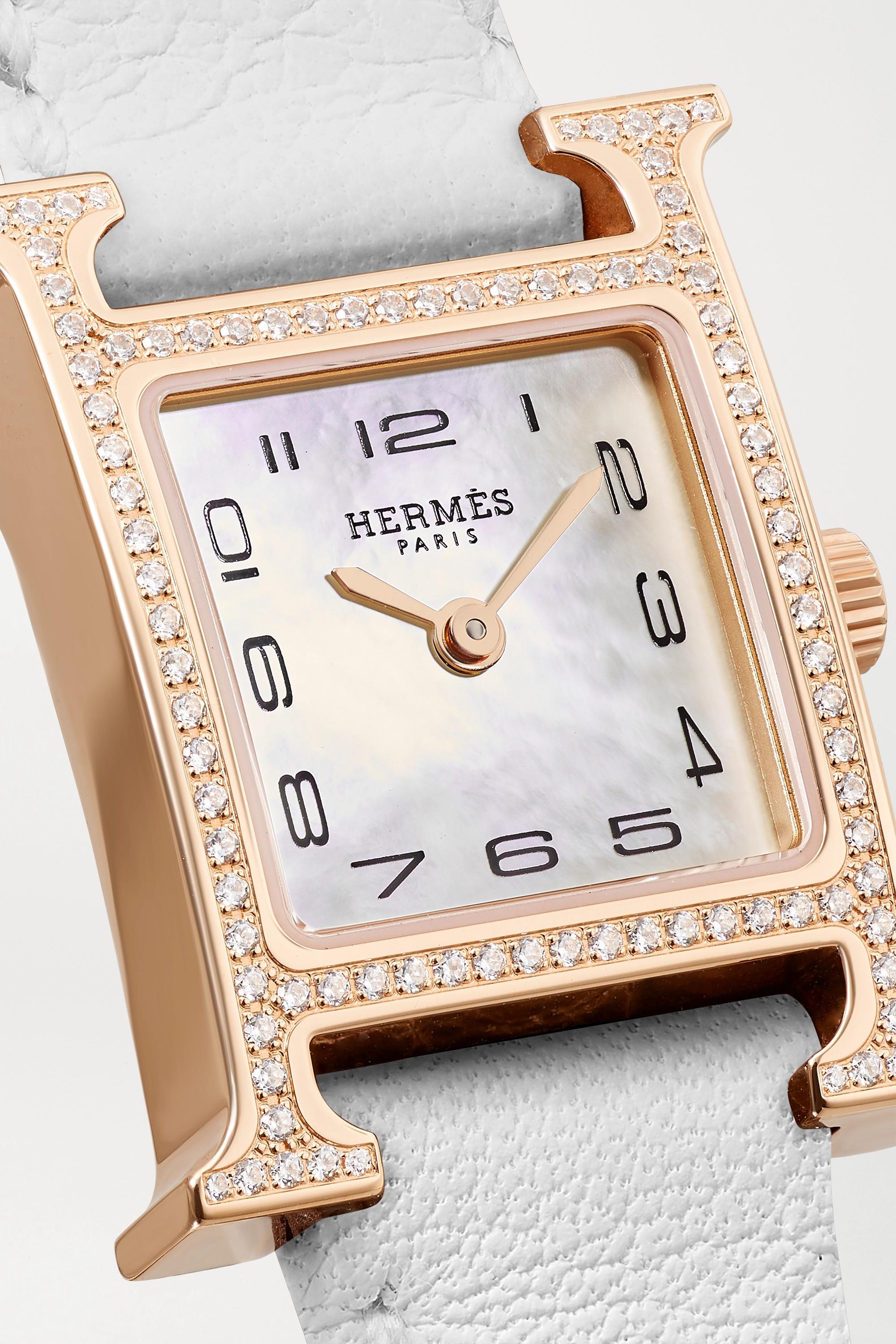 Hermès Timepieces Montre en plaqué or rose, nacre et diamants à bracelet en cuir Heure H Very Small 17,2 mm