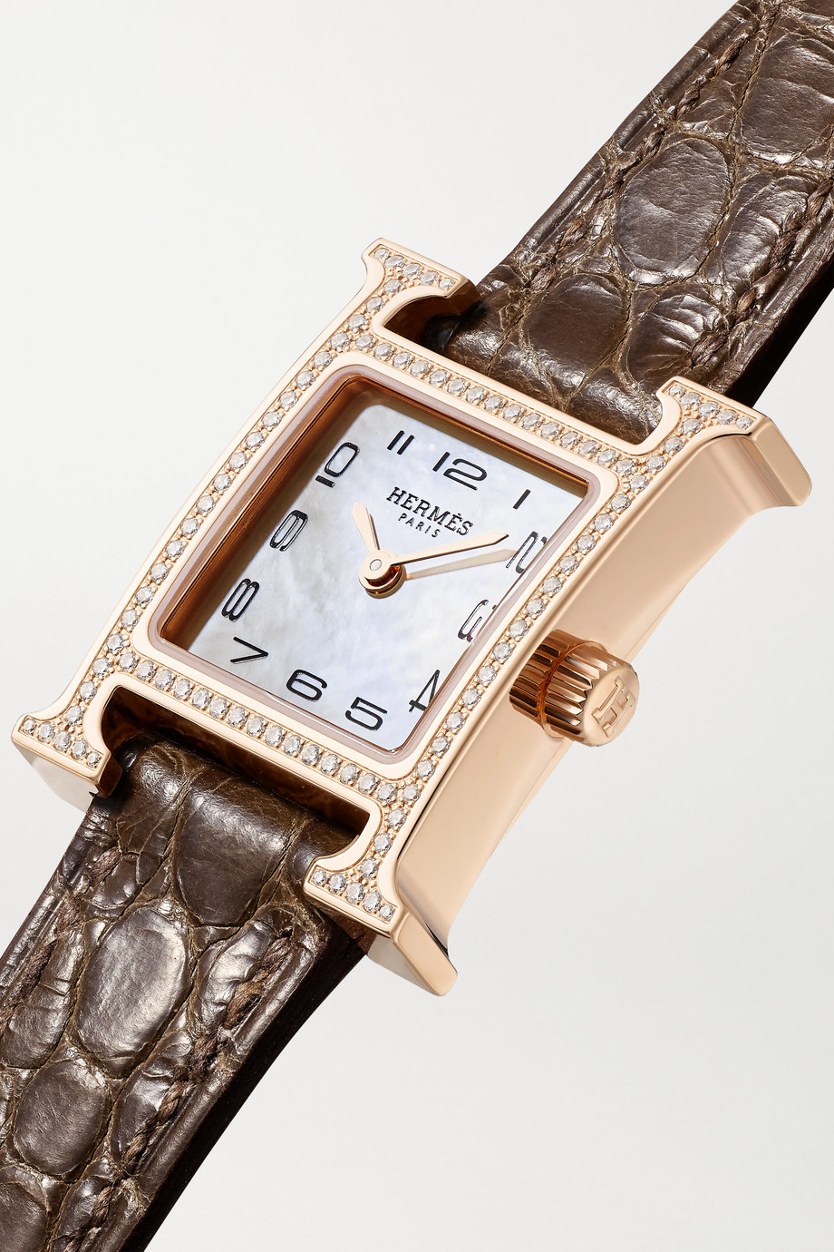 Hermès Timepieces Heure H 17.2mm very small 18-karat rose gold, alligator, mother-of-pearl and diamond watch