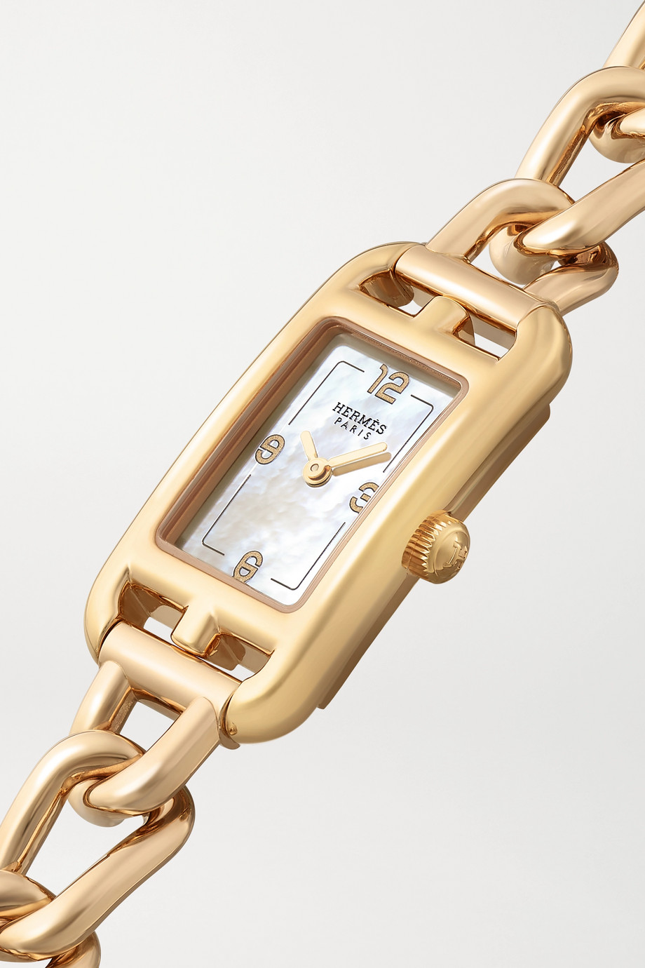 Hermès Timepieces Nantucket 17mm very small 18-karat rose gold mother-of-pearl watch