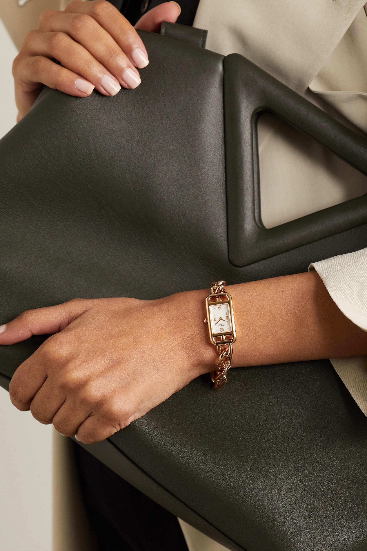 Hermès Timepieces Nantucket 17 mm sehr kleine Uhr aus 18 Karat Roségold mit Perlmutt