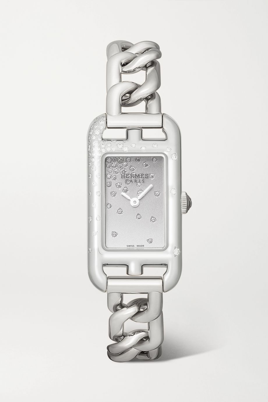 Hermès Timepieces Nantucket 17mm very small stainless steel and diamond watch