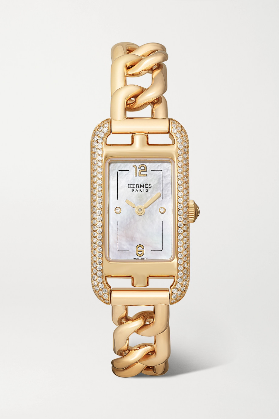 Hermès Timepieces Nantucket 17mm very small 18-karat rose gold, diamond and mother-of-pearl watch
