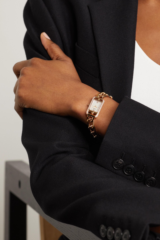 Hermès Timepieces Nantucket 17 mm sehr kleine Uhr aus 18 Karat Roségold mit Perlmutt und Diamanten