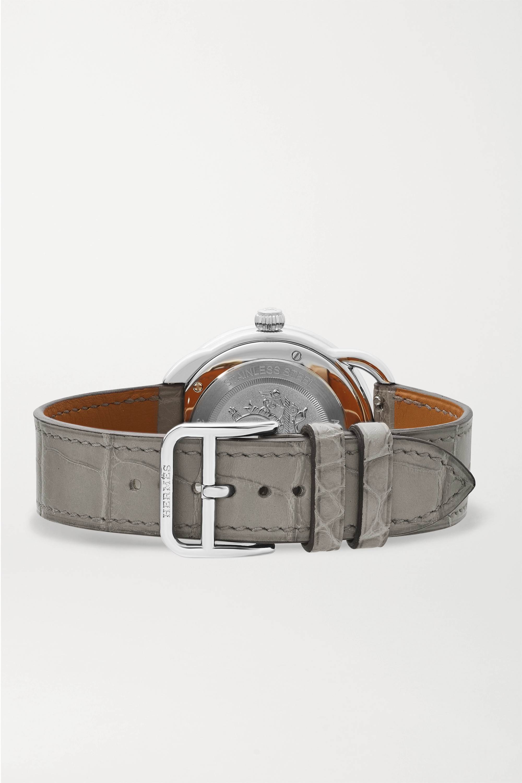 Hermès Timepieces Arceau Soleil 36mm medium stainless steel, alligator and diamond watch