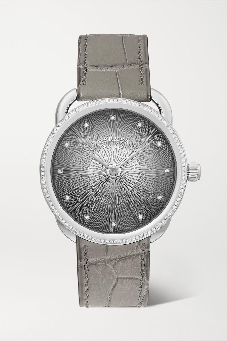 Hermès Timepieces Arceau Soleil 36 mm mittelgroße Uhr aus Edelstahl mit Diamanten und Alligatorlederarmband