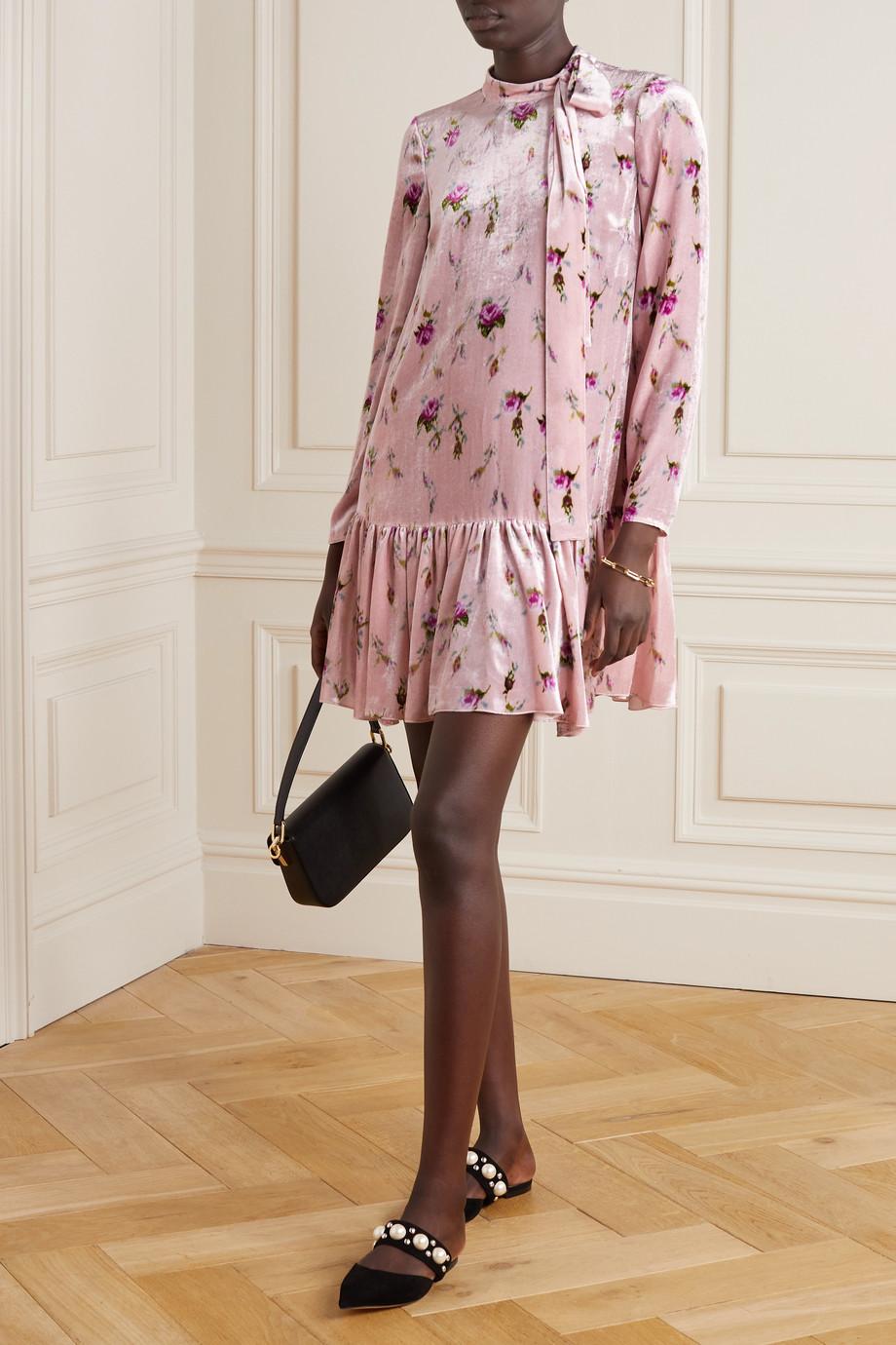 REDValentino Minikleid aus Samt mit Blumenprint und Schluppe